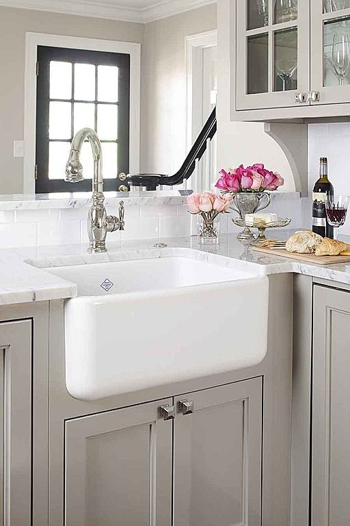 Light Grey Cabinets With White Farm Sink Rustic