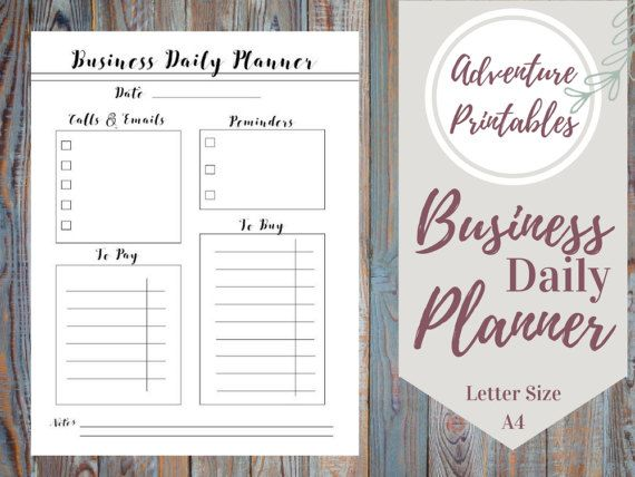 Business Printable Planner PDF Form, Productivity Planner, Daily - business plan in pdf