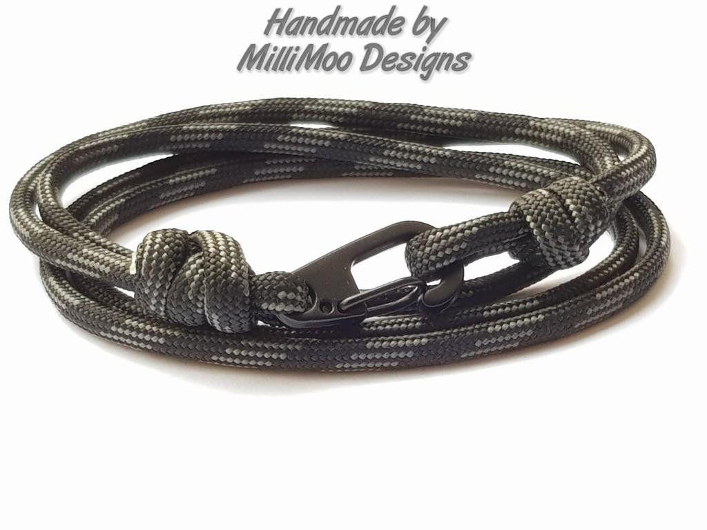 Paracord Bracelet Carabiner Clip Wrap Bracelet Nautical Style