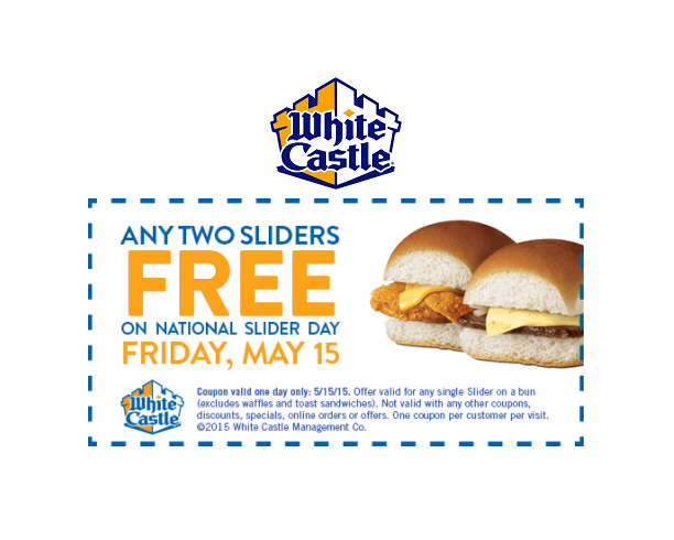 image regarding White Castle Printable Coupons identified as These days is nationwide slider working day! Within just honor of this working day