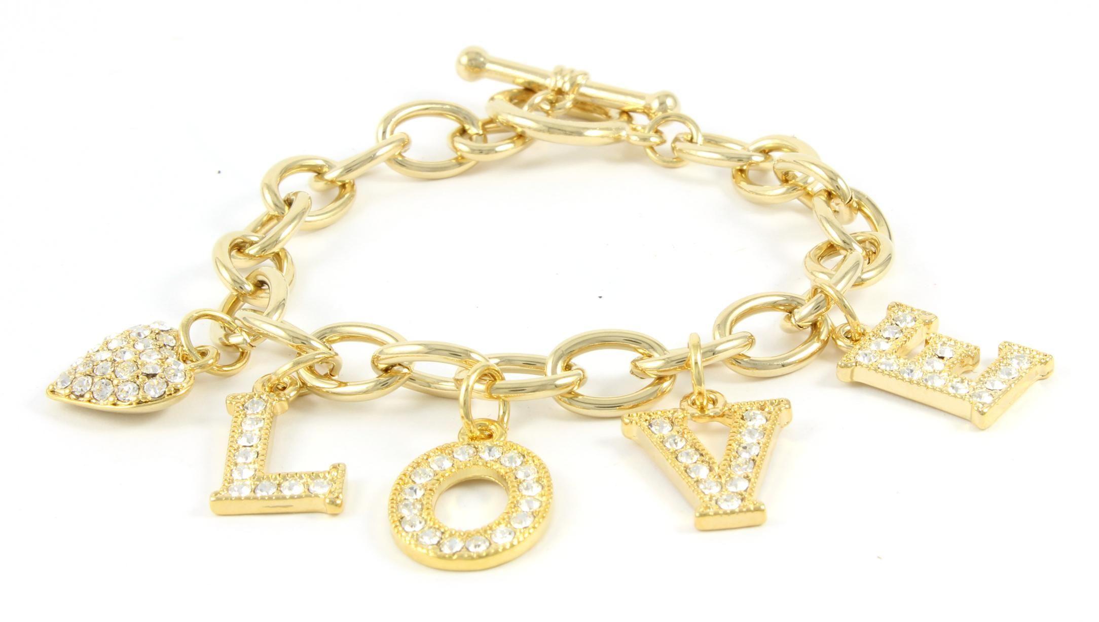 Love Charms Bracelet Gold