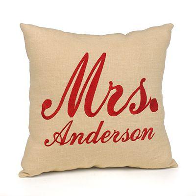 Linen Throw Pillow - Mrs.