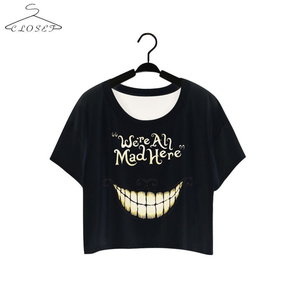 5783109f335371 Alice in Wonderland Cheshire Cat T Shirt Black We Are Mad Here Short Sleeve