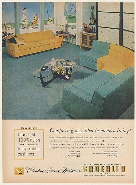 1954 Kroehler Furniture Mid Century Modern Interior Design