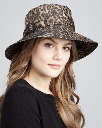 f73c9fe872e39 Leopard-Print Microfiber Rain Hat by Eric Javits at Neiman Marcus. Ladies  Hats