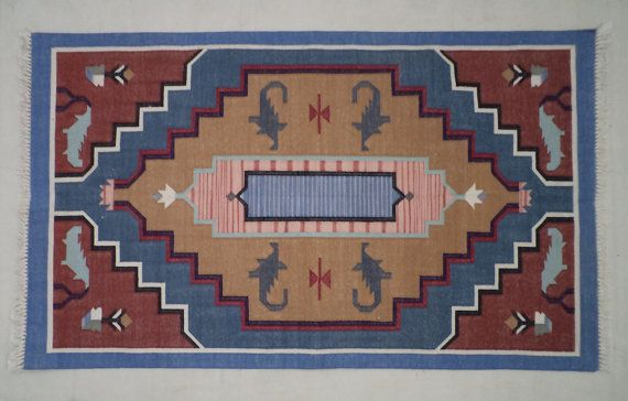 Cotton Kilim Rug - 3x5, Dhurrie Rug, Southwestern Rug, Navajo Rug, Moroccan Rug, Tribal Rug, Bohemian Rug, Handmade Rug