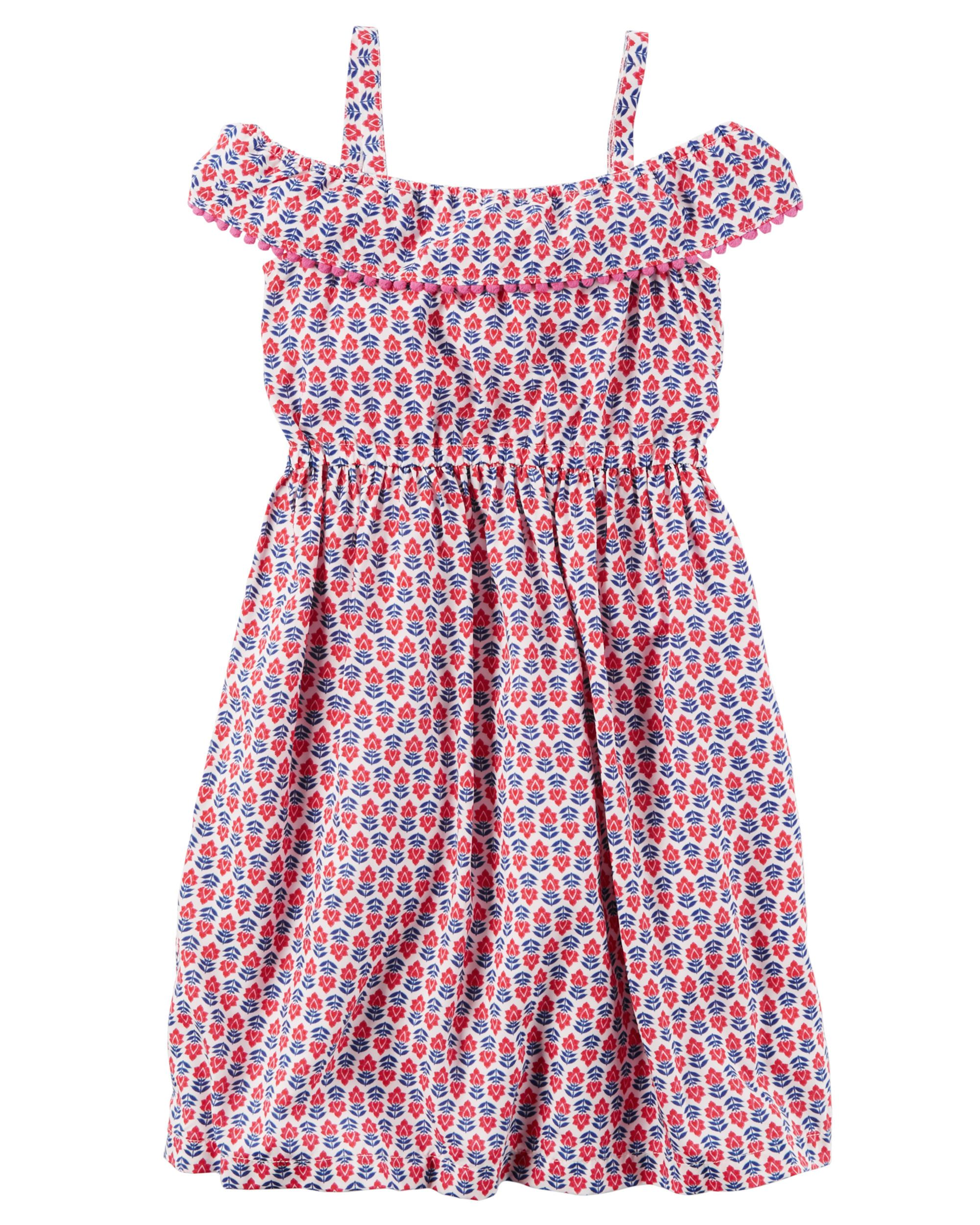 Silky Pom Pom Ruffle Dress