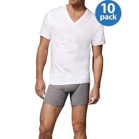 5-Pack Hanes Men/'s TAGLESS V-Neck Undershirt White