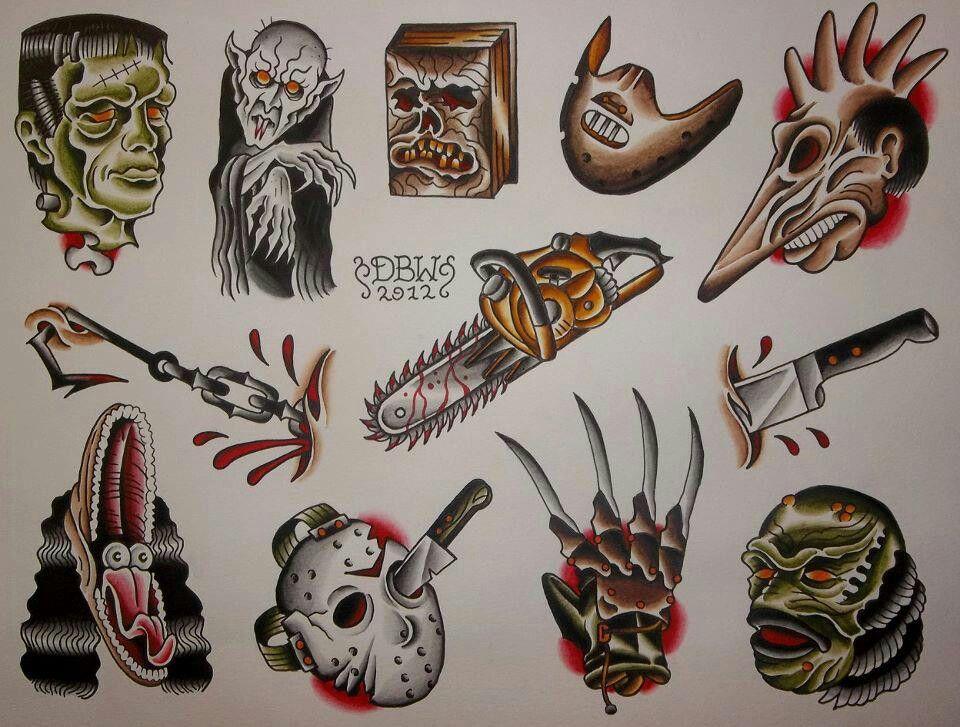 Old School Horror Film Flash Traditional Tattoo Flash Sheets Movie Tattoos Tattoo Flash Sheet