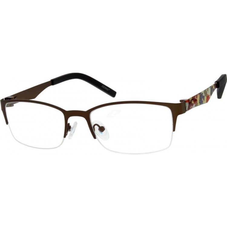 72ebf392a89 Hypoallergenic stainless steel half-rim frame with adjustable silicone nose  pads and rubberized temple tips for added comfort.