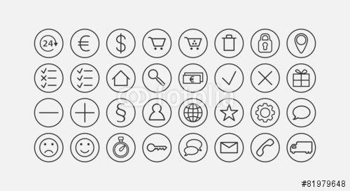 Modern web e-commerce line icon set