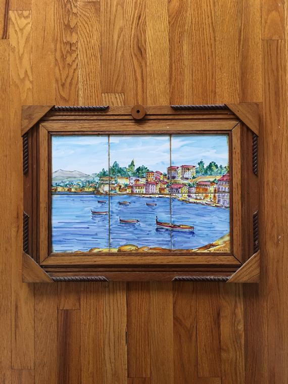 Italy Ceramic Tile Mural Hand Painted Sorrento Unique Frame