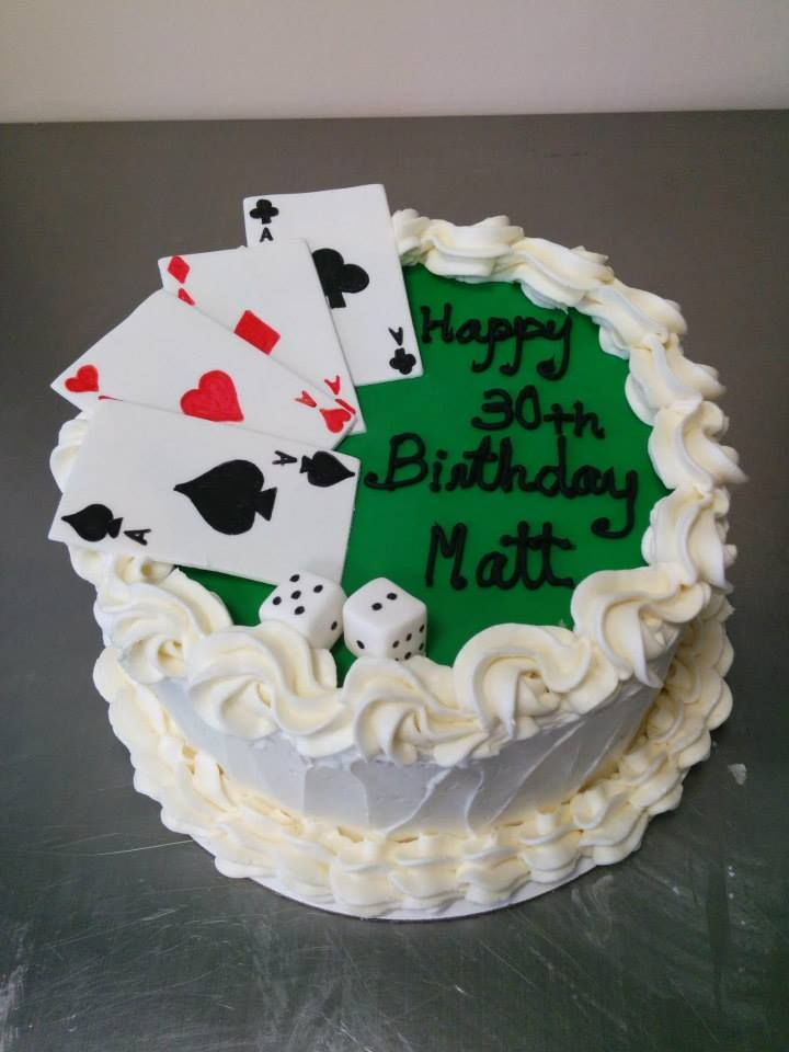 Poker Playing Card Gambling Cake With Dice For A Mans 30th Birthday Buttercream And Fondant