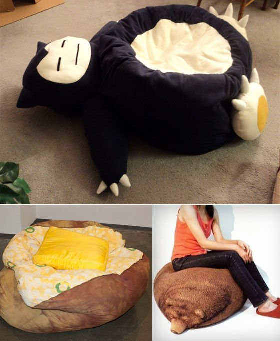 12 Cool And Unusual Bean Bag Chairs Snorlax Bean Bag Cool Bean Bags Bean Bag Chair