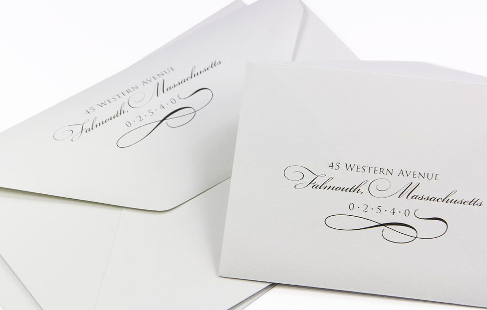 Elegant wedding envelopes 100 cotton custom printed for Return address envelopes for wedding invitations