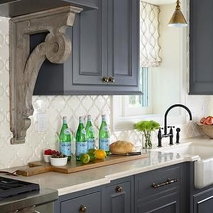 Gray Cabinets Oil Rubbed Bronze Faucet Beveled Arabesque Tile