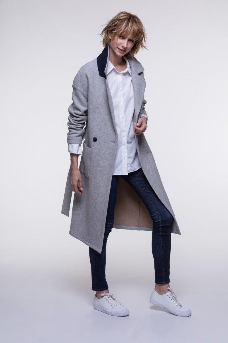 Manteau femme gris ceinture