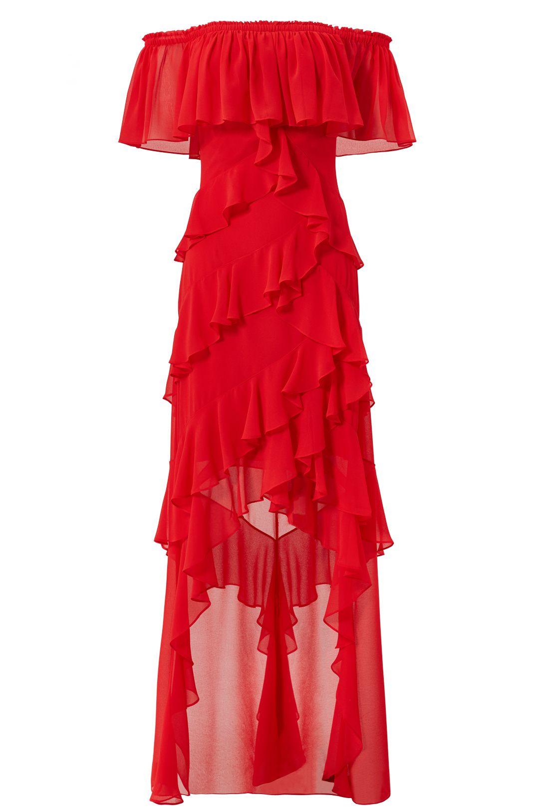 4d906426ba75 Badgley Mischka Red Off Shoulder Ruffle Gown