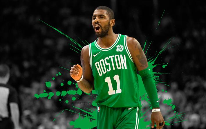 Download Wallpapers Kyrie Irving 4k Basketball Players Nba Boston Celtics Grunge Basketball Art Besthqwallpapers Com Kyrie Irving Kyrie Basketball Players Nba
