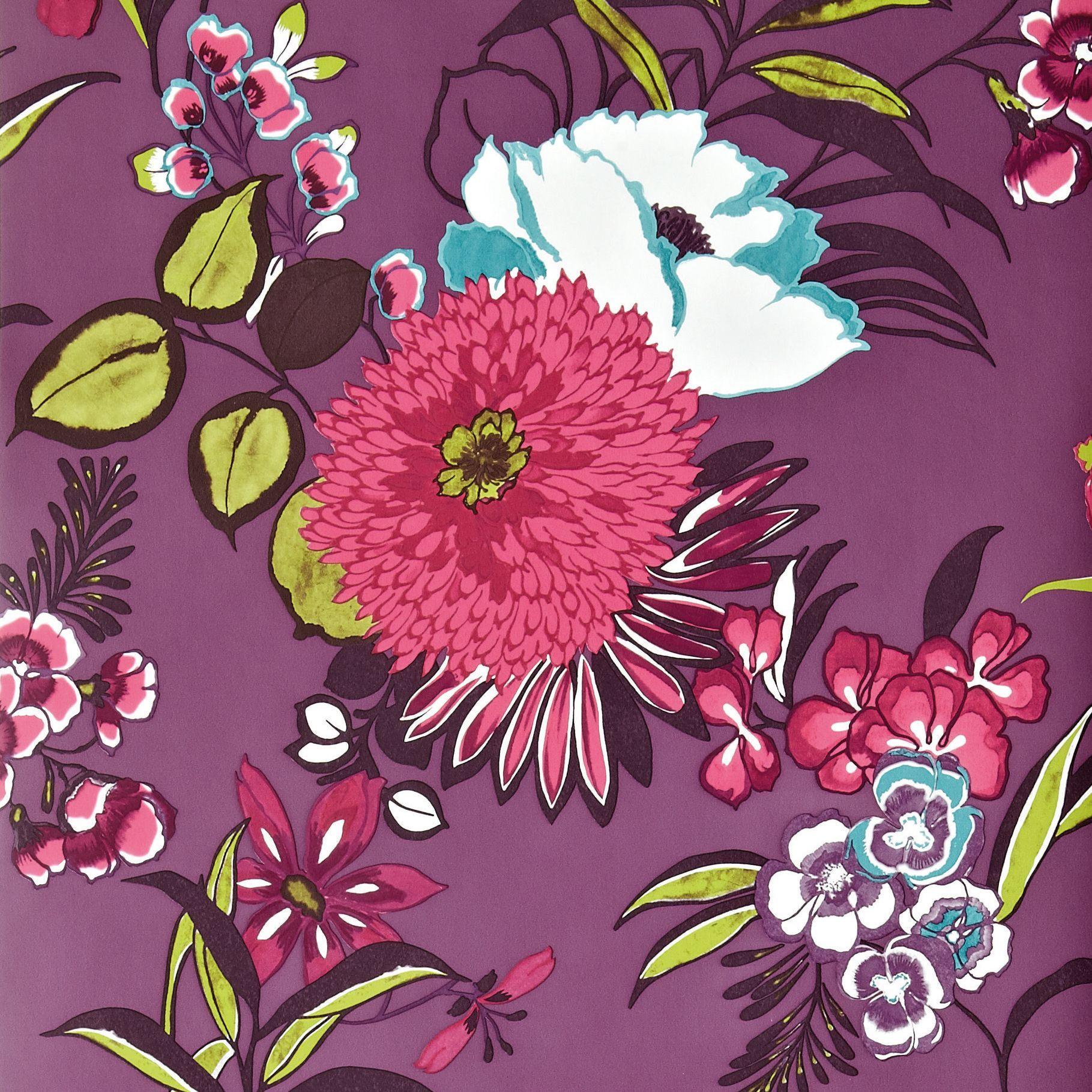 Cocktail floral plum wallpaper departments diy at bq
