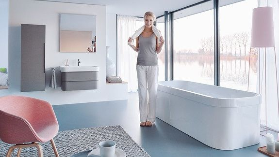 Newly updated Happy D2 freestanding bath with basin unit and tall - happy d badezimmer