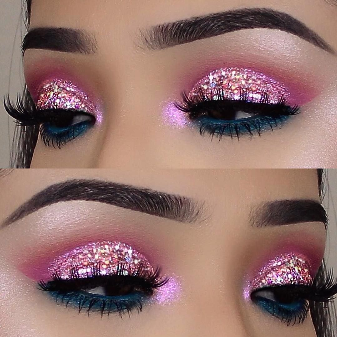 Einfache Glitzer Augen Makeup Ideen Everydaymakeupideas Glitter Eye Makeup Eye Makeup Designs Eye Make Up