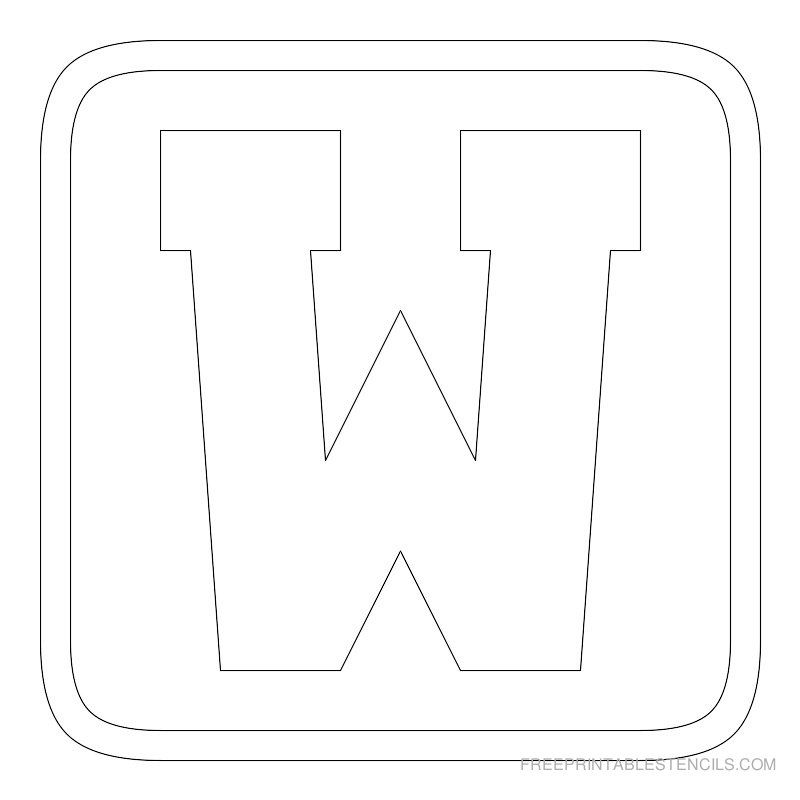 Printable Block Letter Stencil W | Arts and crafts | Letter
