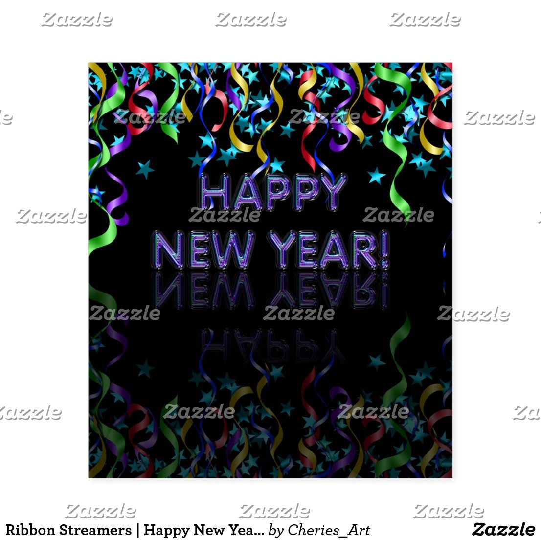 ribbon streamers happy new year wine label