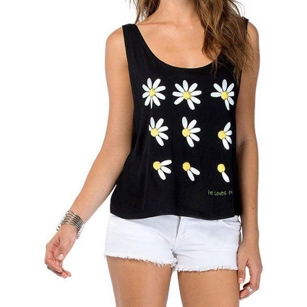 WHOLESALE Stylish Scoop Neck Chrysanthemum Print Tank Top For Women ($4.20) ❤ liked on Polyvore