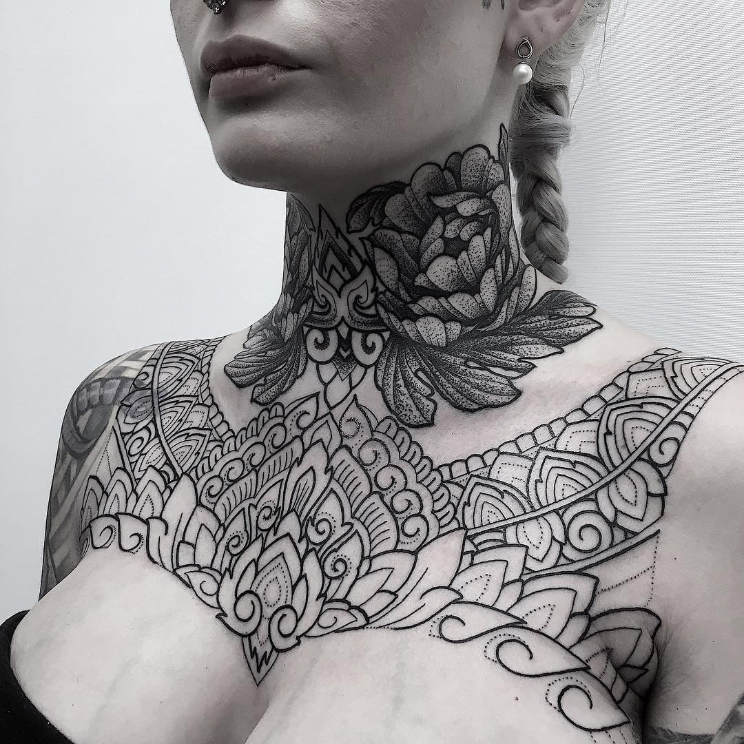Tattoo By Manchetattoo Throat Progress And Lines Added To Chest Thank You So Very Much Danie Tough Lady Ornam Neck Tattoo Neck Tattoos Women Girl Tattoos
