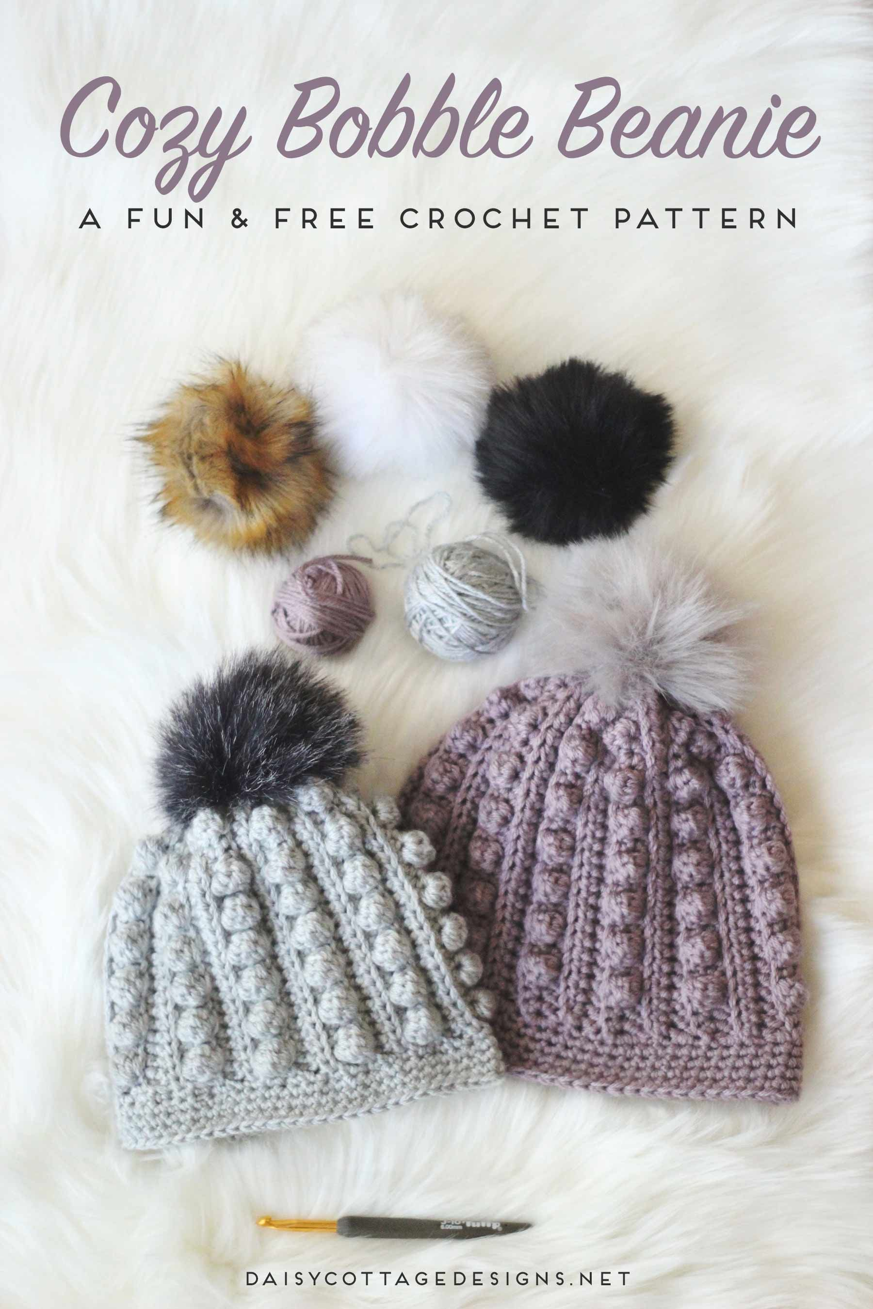 Use this free bobble beanie crochet pattern to create an adorable crochet  hat for anyone on your gift list. Cozy and warm 0f557f2e6dd