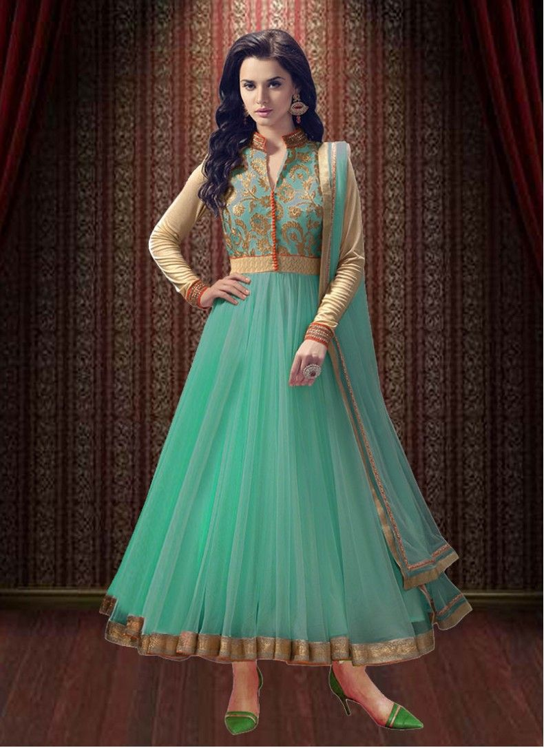 Faux Georgette Sea Green Embroidered Trendy Anarkali Salwar Suit ...