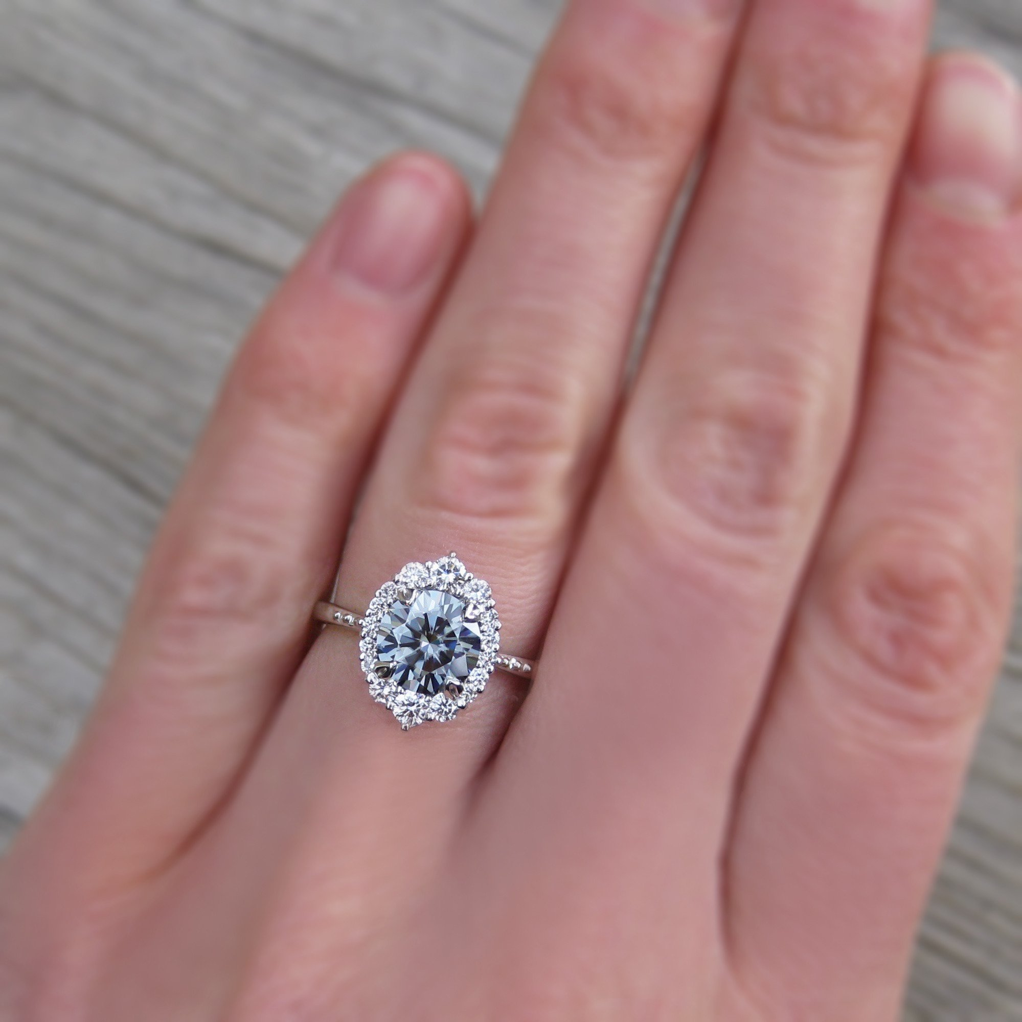 EMERSON・Dark Grey Moissanite, Diamond Halo (1.58ct) | Wedding Ideas ...