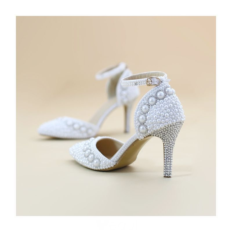 23e72c110a8 Chic / Beautiful White Wedding Shoes 2019 Pearl Ankle Strap ...