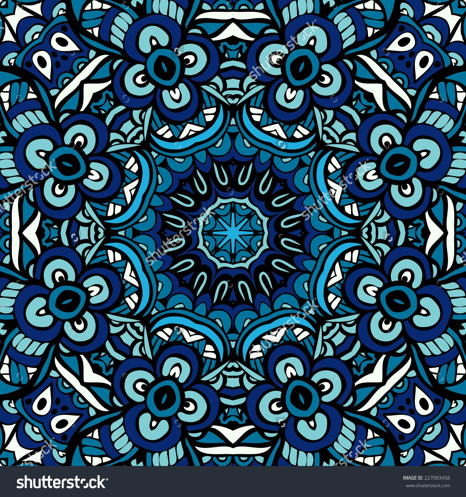 Ornamental abstract vector blue ethnic geometric seamless background