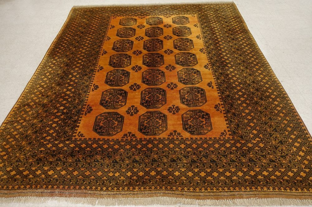 10 X 12 Afghan Turkmen Tribal Hand Knotted Wool Gold Black Oriental