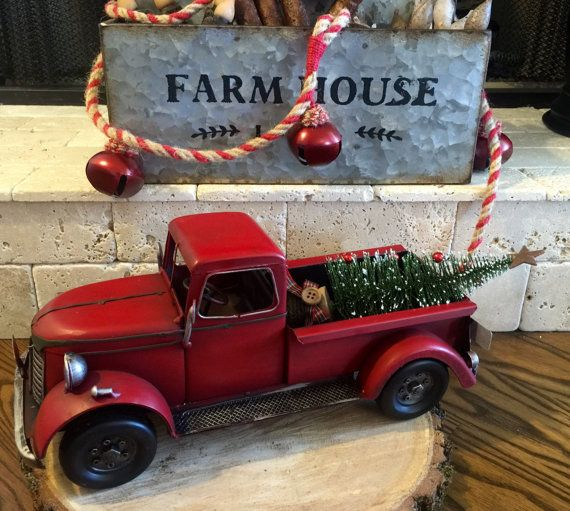 Vintage Red Truck Christmas Decor.Cant You Just Picture This Vintage Red Truck Hauling Your
