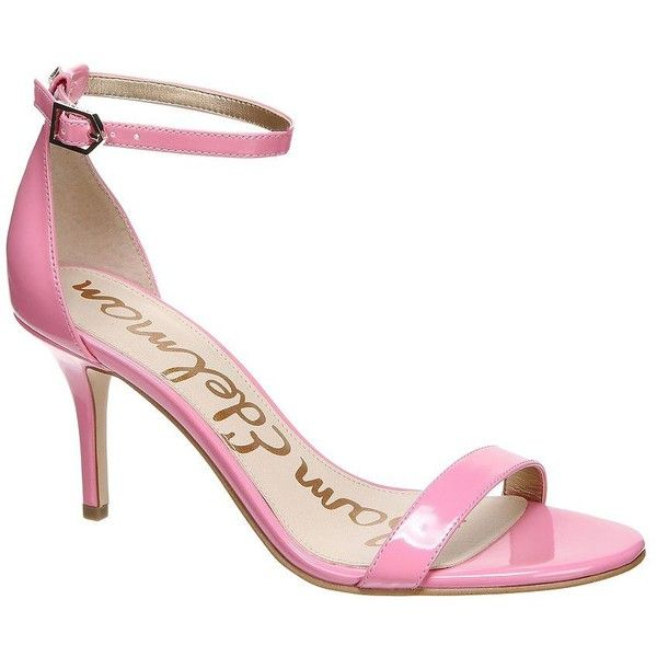 Sam Edelman Patti Patent Leather Sandals ($100) ❤ liked on Polyvore featuring shoes, sandals, pink, ankle strap sandals, sam edelman shoes, sam edelman, sam edelman sandals and pink patent shoes