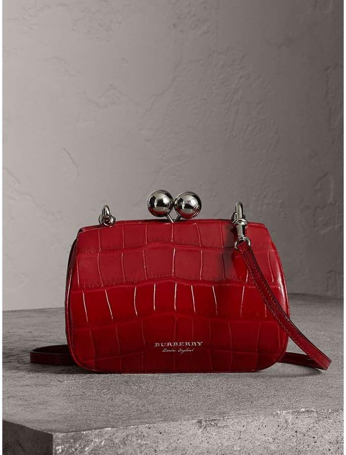 2b3c11a9d08d Burberry Small Alligator Frame Bag! A metal frame bag in glossy alligator  skin with an oversized kiss-lock clasp. Detach the crossbody strap to carry  it as ...