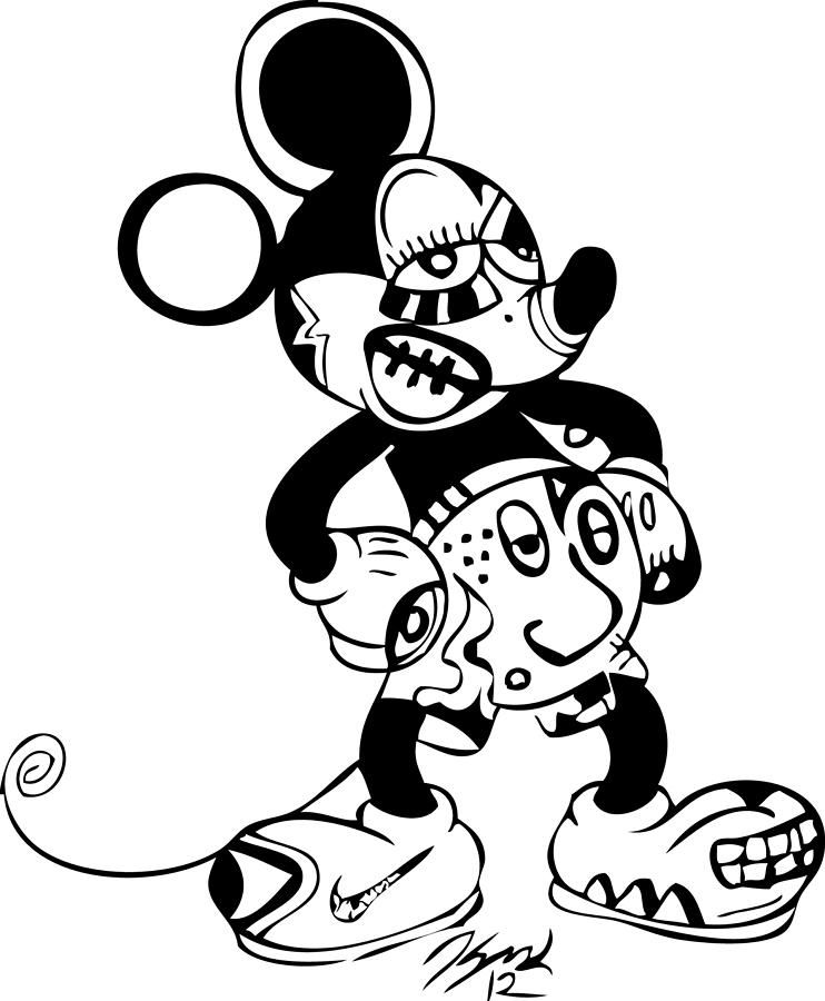 Graffiti Mickey Mouse Illustration Mickey Minnie Mouse