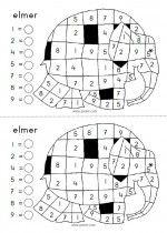 Ganzenbord Elmer Kleurplaat Cijfers Elmer Math Elmer The