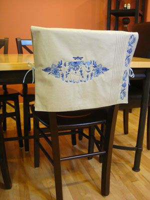 Beautiful Free Project Instructions To Make A Placemat Chair Back Cover.