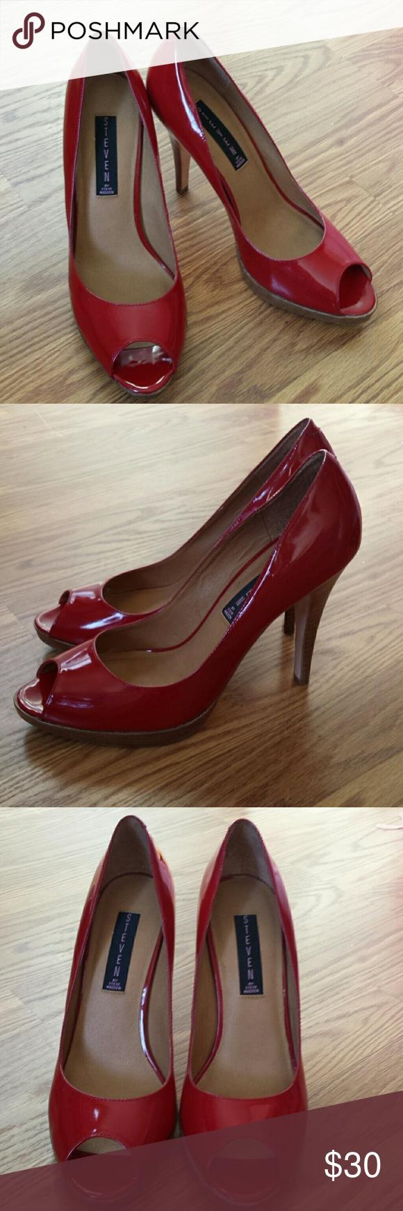 Steve Madden heels Shiny red leather peep toe pumps by Steve Madden Size 9M Steve Madden Shoes Heels