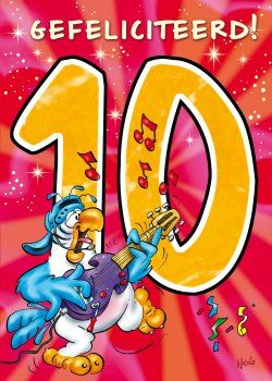 gefeliciteerd 10 jaar ray nicholson kaart met leeftijd 10 jaar voorkant. (250×350  gefeliciteerd 10 jaar