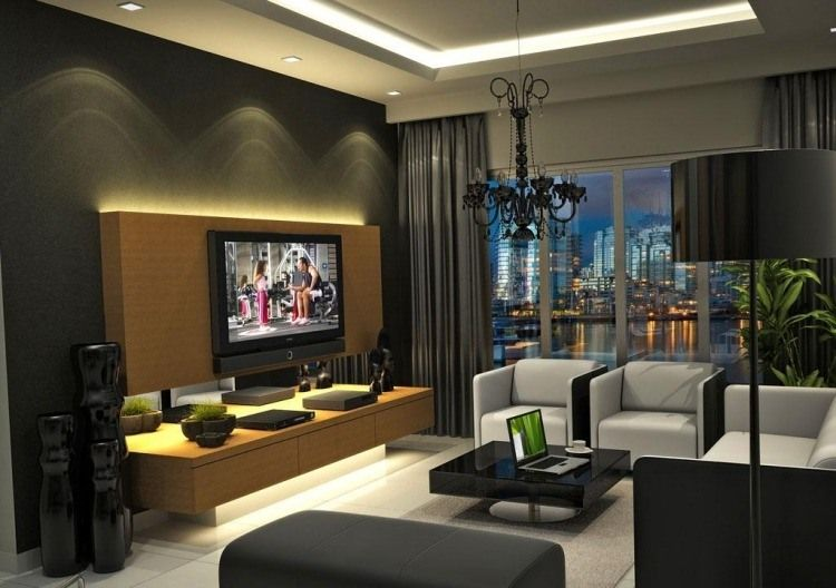 ensemble mural tv led pour le salon moderne 50 id es ensemble mural tv salons modernes et led. Black Bedroom Furniture Sets. Home Design Ideas