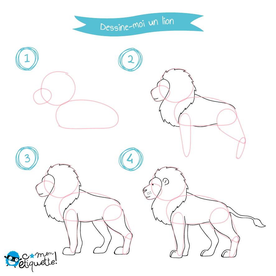 Coloriage enfant dessin dessiner dessin et animaux savane - Comment dessiner un lion ...