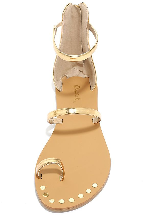 dc939d07a5f We definitely have a weakness for the Achilles Gold Flat Ankle Strap Sandals!  Three metallic gold bands include a toe loop and ankle strap