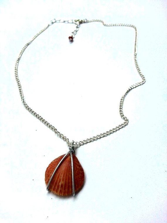 Red Hawaiian Shell Wire Wrapped Necklace