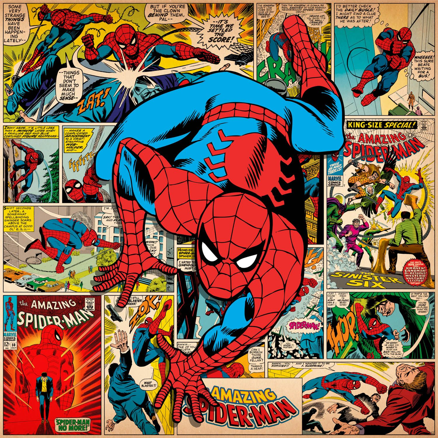 Comic Book Cover Art Prints ~ Marvel comic book spider man on covers panels