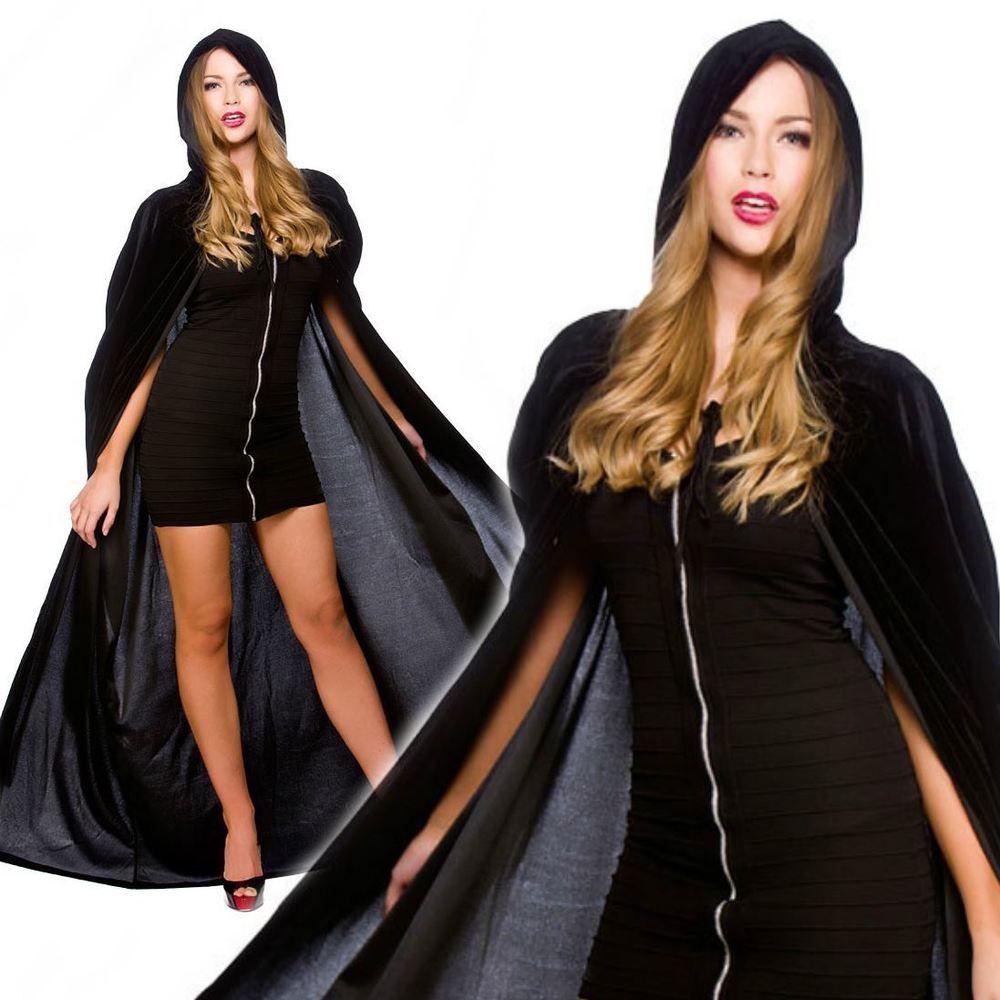 Deluxe long cape hooded velvet ladies mens halloween fancy dress
